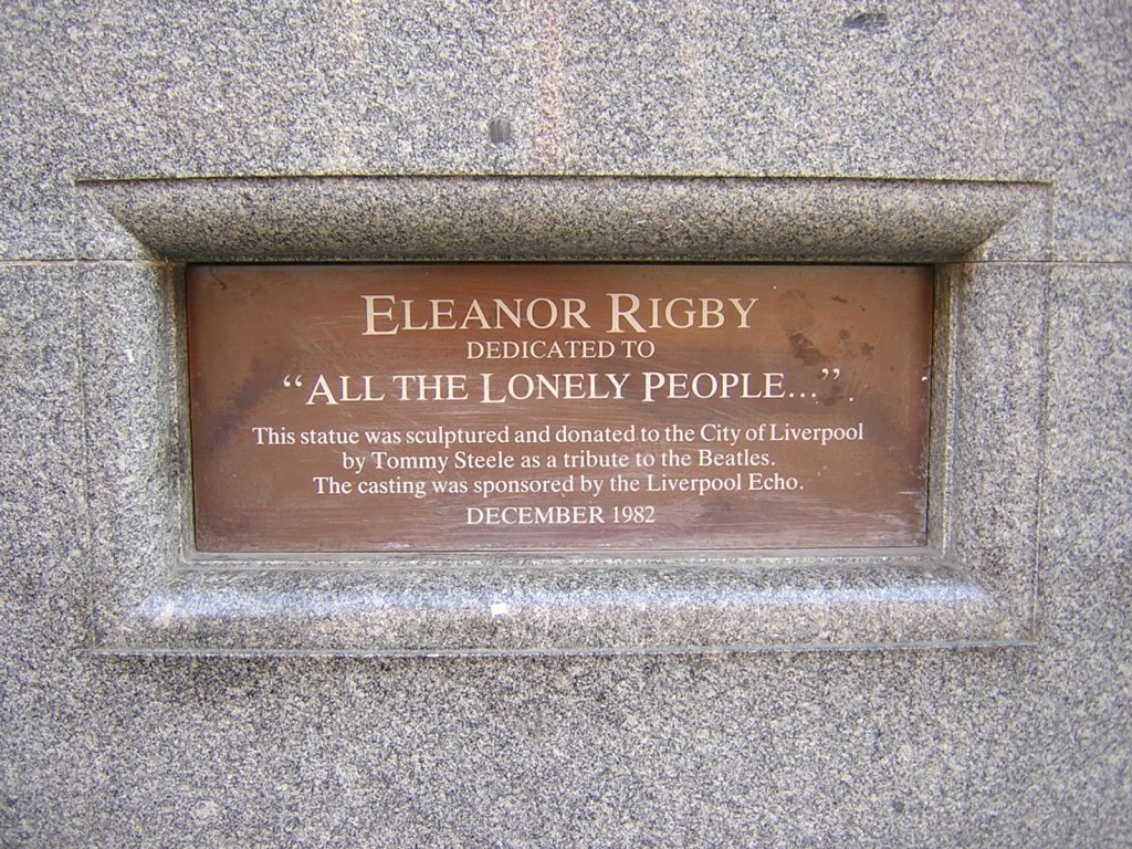 Plaque on the statue of Eleanor Rigby